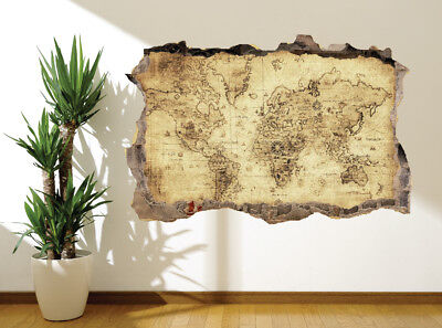 4302066 Map Vintage distressed World-Map photo wall sticker wall mural