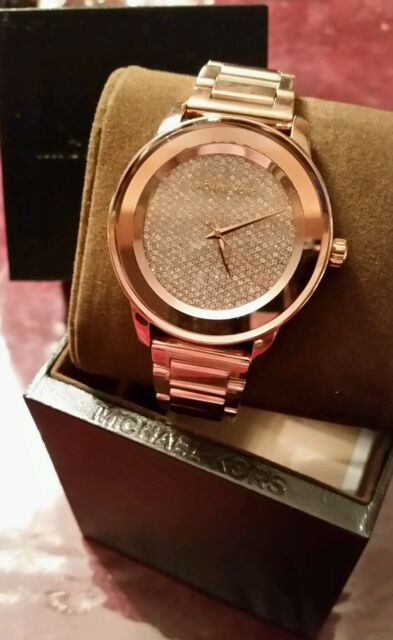 8ccadf7a7fd1 Michael Kors Kinley Rose Gold Tone Crystal Pave Dial Bling Luxury Watch NEW