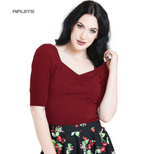 Hell Bunny Shirt 50s Rockabilly Top PHILIPPA Red Burgundy 3//4 Sleeves All Sizes