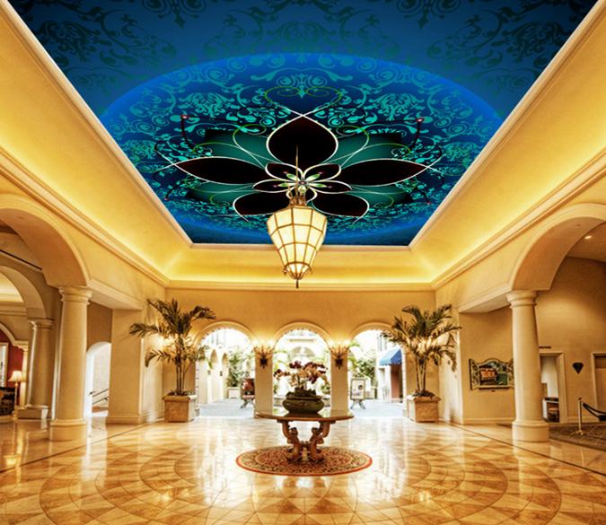 3D Blau Petal 834 Ceiling WallPaper Murals Wall Print Decal Deco AJ WALLPAPER