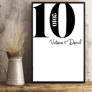 Personalised-10th-Wedding-Anniversary-Print-Wall-Art-A4-Unframed-or-Framed
