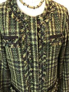 Grøn Chico's Jacket M 12 Eller Chain Appple Sparkle Candy 2 Brun Nicole Tweed Sz 0Td1wqq
