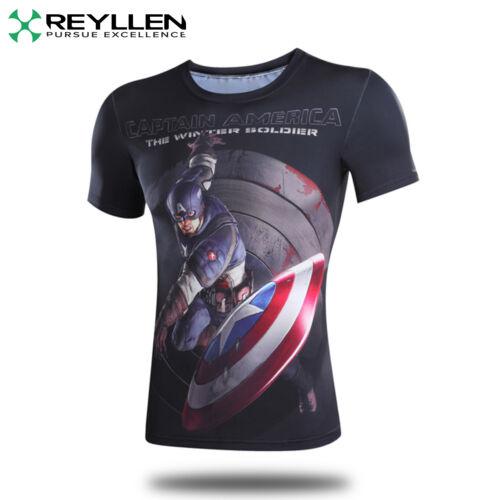 Captain America Limited Edition Compression Superhero T-Shirt Shirt Fitness UK