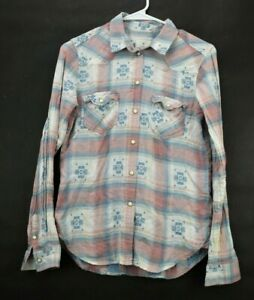 American-Eagle-Outfitters-Women-039-s-XS-Vintage-Boyfriend-Pearl-Snap-Plaid-Shirt