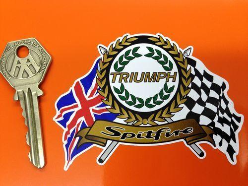 TRIUMPH SPITFIRE Garland Flags /& Scroll classic sports car sticker