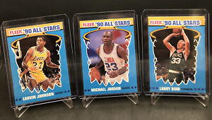 1990-91 Fleer All-Stars #5 Michael Jordan, Magic Johnson, Larry Bird. Legends