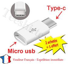 ADAPTATEUR de Micro USB Femelle a USB 3.1 Type C Mâle Data Sync connecteur Blanc