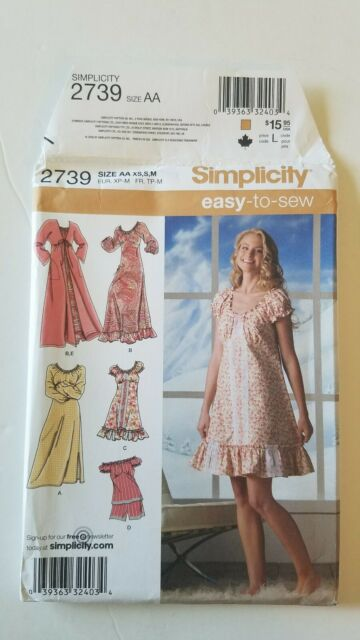 Simplicity 2739 Misses Easy to Sew Pajamas Nightgown Robe Sizes XS-XL Uncut//New