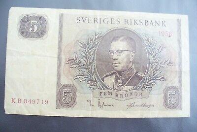 Lagere Prijs Met Ancien Billet - 5 Kronor SuÈde 1956 - Etat Courant !!!
