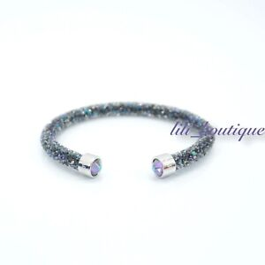 NIB-Swarovski-5273639-Crystaldust-Bangle-Cuff-Bracelet-Purple-Multi-Size-M-5-8cm