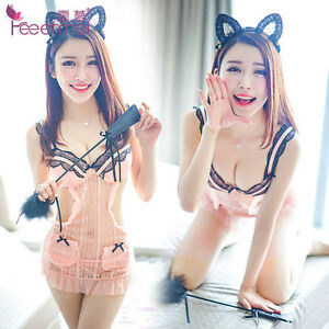 Sexy-cute-orange-pink-body-teddy-babydoll-lingerie-with-G-string