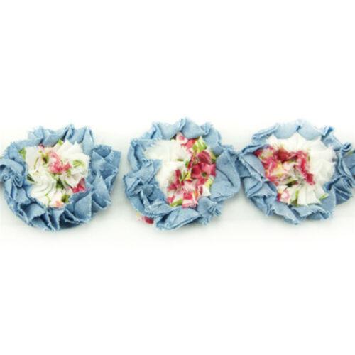 environ 0.91 m 1 Yd Jean Floral Mousseline effiloché shabby fleur rose maille dentelle robe de couture
