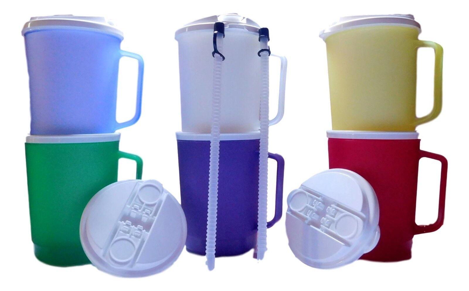 6 20 Ounce 1 ea.Mugs with Drink Thru  Flip-Sip Lids & Straws Mfg USA- 6 colors