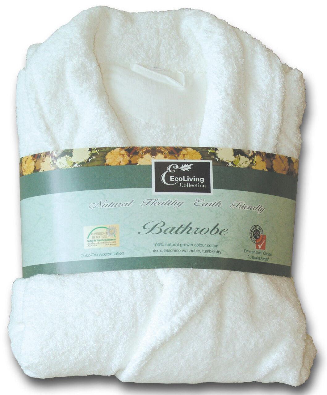 Pure Cotton L XL Größe Terry Towelling Bath Robe 550 gsm Unisex Natural Weiß
