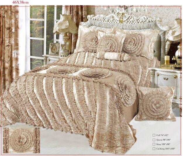 Tache 6 PC Harvest Moonlit Cream Beige Floral Solid Ruffled Satin Comforter Set