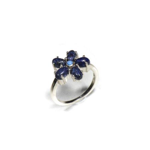 Bague argent 925 fleur lapis lazuli