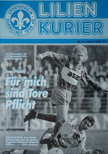 MSV Duisburg Programm 1992//93 SV Darmstadt 98