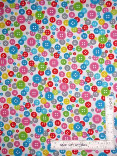 Sewing Theme Multi Color Buttons White Cotton Fabric Studio E Sew Much Fun YARD