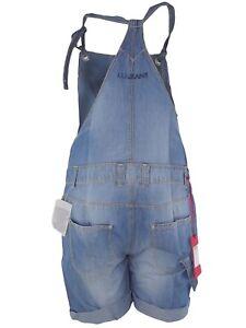 new product 8065d 6213f Dettagli su liu jo salopette donna jeans blu denim misto lino made italy  taglia it 41
