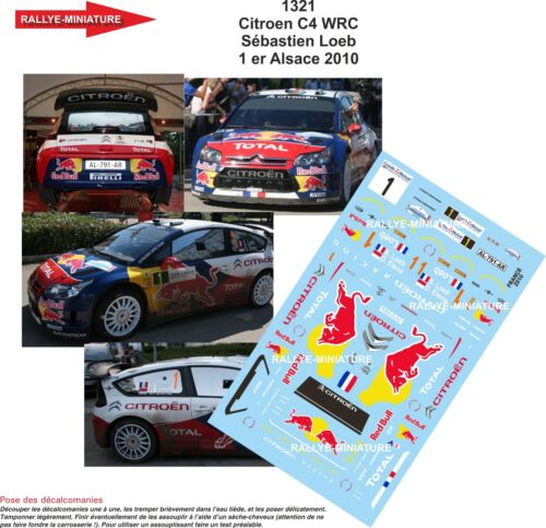 1321 Citroen C4 WRC Sébastien Loeb Rallye Frankreich Elsass Aufkleber 1//43 Ref