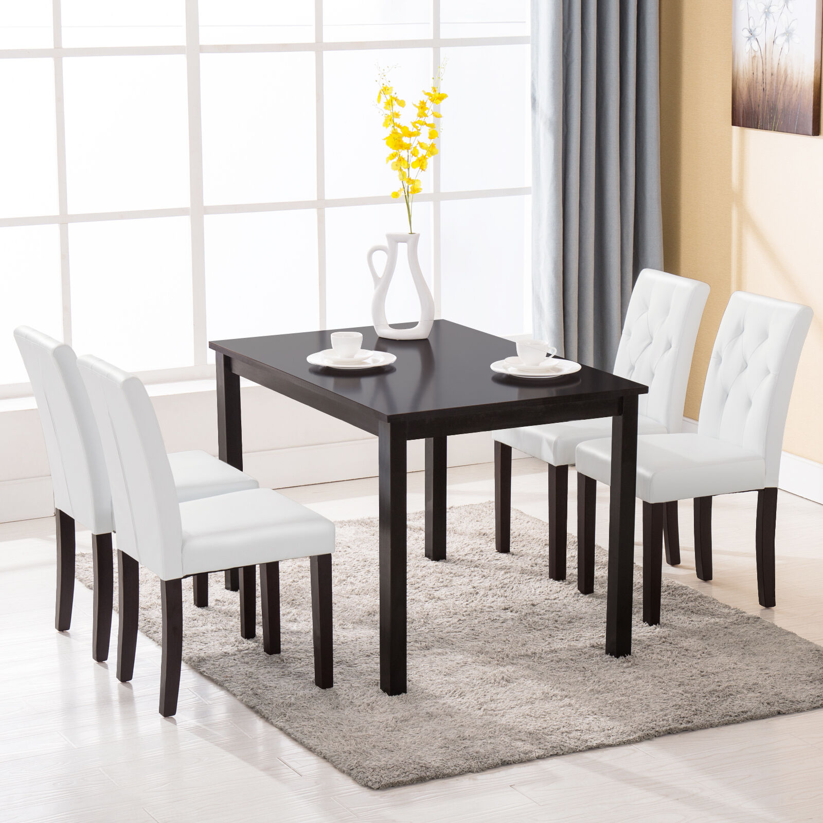 White Leather Dining Room Set: 5 Piece Dining Table Set 4 Chairs Room Kitchen Dinette