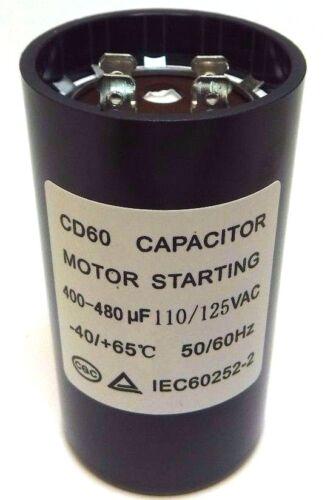 LOT OF 10 Motor Start Capacitor Round  400-480 uF MFD 110V 125V VAC 46x86mm CD60