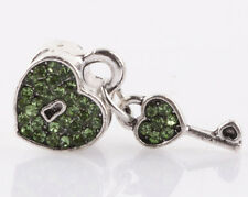 1pcs silver love key green CZ spacer beads fit Charm European Bracelet DIY #C951