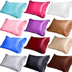 100 Silk Satin Standard Pillow Case Qu Decor Bed Home