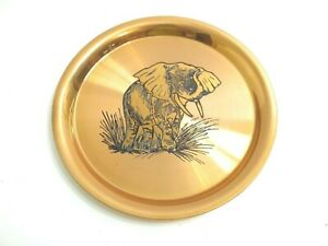 LOVELY-VINTAGE-HEAVY-COPPER-PLATE-WITH-BRASS-RELIEF-ELEPHANT-11-034