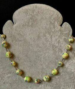 Vintage-Art-Deco-30s-Venetian-Murano-Wedding-Glass-Lampwork-Gilt-Metal-Necklace