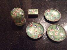 Vintage Cloisonne green Cigarette Box Match Box Holder Ashtray Set China 1930's