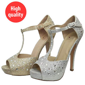 ada5c50c4ac Image is loading Women-Rhinestones-Evening-Prom-Party-Wedding-Platform- Silver-