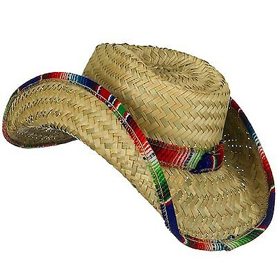 ADULT Fiesta Palm Straw Saltillo Serape Trim MEXICAN COWBOY HAT cinco de mayo