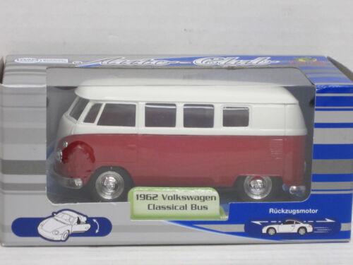 OVP Rückzugsmotor ca weiß//rot VW T1 Bus 1962 1:34 Auto-Club // Welly