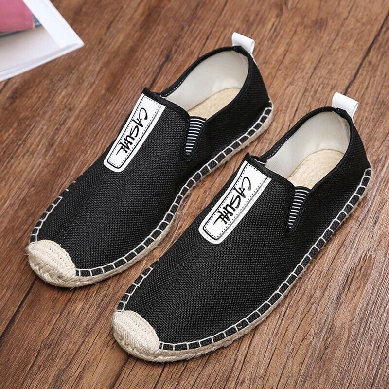 Fashion Mens Round Toe Flat Heel Canvas Espadrille Loafers shoes Casual Loafers
