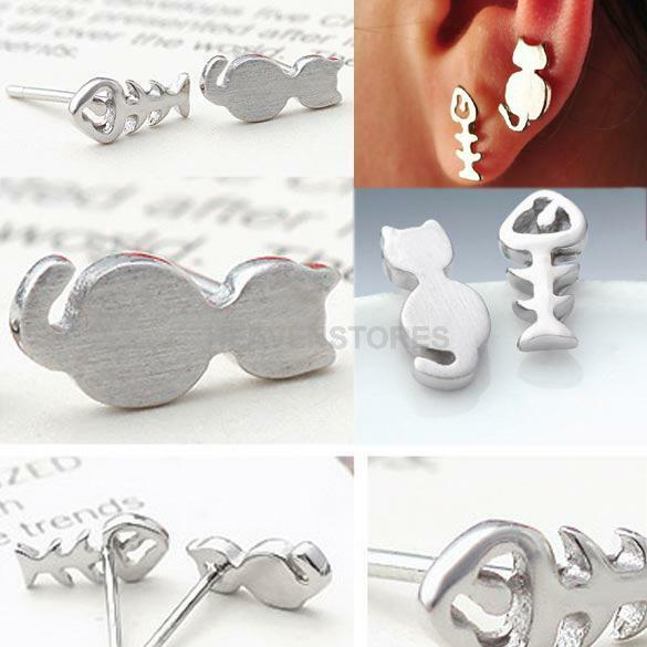 Fashion Stylish Women Silver Cute Cat and Fish Bone Ear Studs Earrings  hv2n