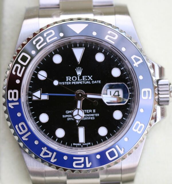 NEW ROLEX GMT MASTER II 2 TWO STAINLESS STEEL WATCH 2015 BLUE BLACK BRUZER