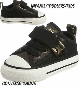 2b40ab9d0ff Kids Baby Boys CONVERSE All Star BLACK VELCRO CAMO SLIP Trainers ...