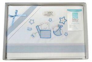 Completo lenzuola per Culla neonato Mio Piccolo in puro cotone azzurro 13-762