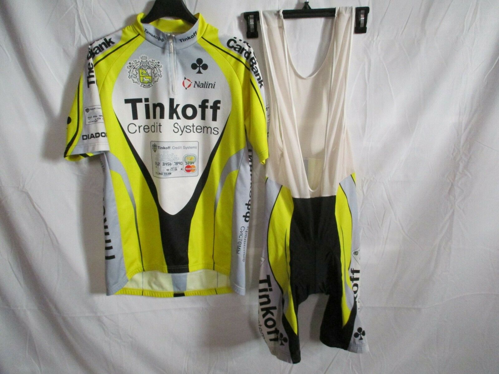 Jersey + bib shorts bicycle  combi tinkoff credit systems 2008 shirt maglia 4 l  high quality & fast shipping