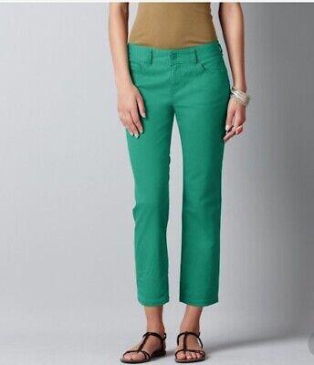 NWT Ann Taylor Dolphin Hem Pull On Pants   $89.00 Green NEW