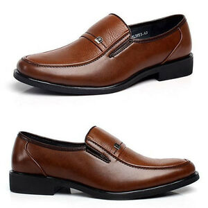 Fashion-Men-039-s-Casual-Business-Leather-Shoes-Slip-On-Work-Dress-Oxfords-Loafers