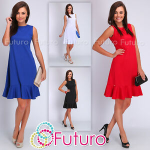 Womens-Dress-Sleeveless-Tiered-Cocktail-Dress-Boat-Neck-Size-8-10-12-14-FA405