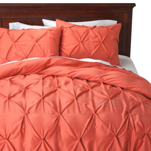 NEW Threshold Pinched Pleat 3 Piece KING Duvet Cover Set Coral//Rose 100/% COTTON