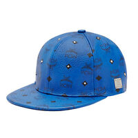 Mcm Unisex gold Stud Mazarine Blue Visetos Adjustable Hat Sz S 57 Cm
