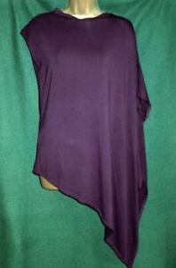 Dark-Deep-Purple-UK-14-18-M-L-Long-Asymmetric-Stretch-T-Shirt-Tunic-Slouch-Top