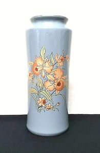 Asian-Oriental-Vase-Blue-Gray-With-Orange-Peach-Coral-Flowers-8-034-Tall-Japan