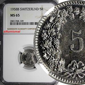 SWITZERLAND-Copper-Nickel-1958-B-5-Rappen-NGC-MS65-HELVETICA-KM-26