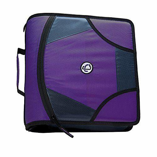 Zipper Binder School Class Zip Tab 4-Inch D-Ring with 5-Tab File Folder Purple