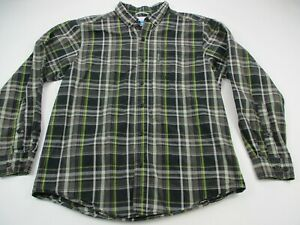 Columbia-Mens-Button-Front-Shirt-Black-Plaid-Short-Sleeve-Collared-Medium
